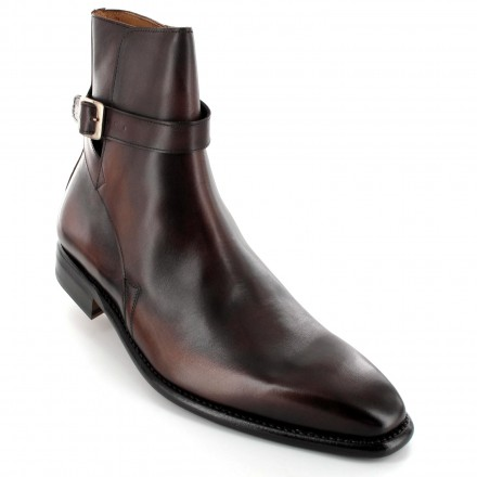 Chaussures bottines/boots homme cuir marron patine - Colin