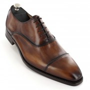 CHAUSSURES PATINEES marron bourbon, semelle goodyear de la marque VINEDGE®