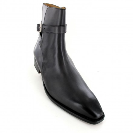Chaussures bottines/boots homme cuir gris patine - Damias