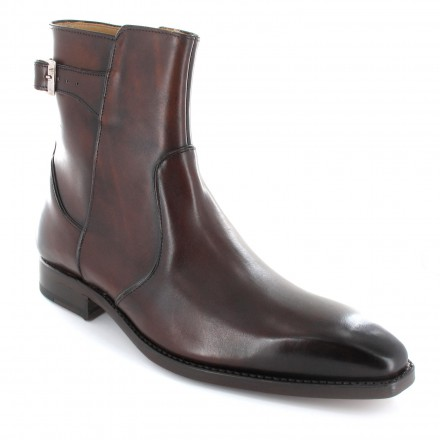 Chaussures bottines/boots homme cuir marron patine - Colin2